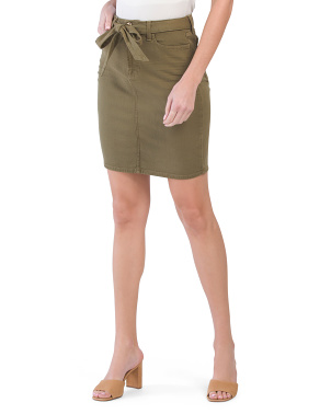 Pencil Skirt With Tie Front