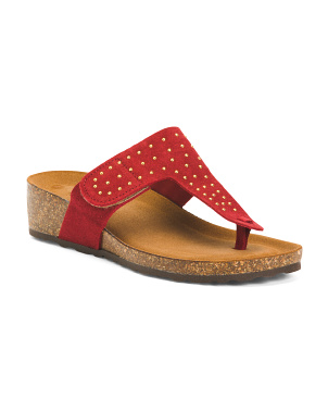 Padded Leather Sandals With Studs