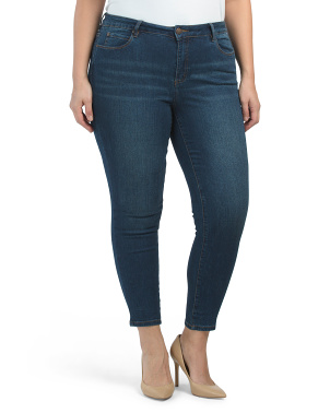 Plus Mid Rise Denim Skinny Jeans