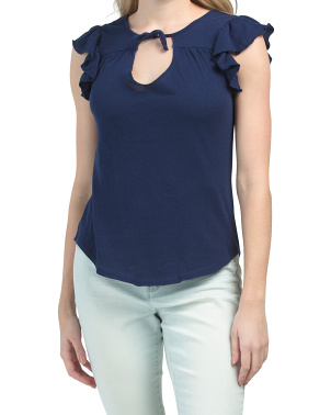 Gauzy Cotton Ruffle Sleeve Tee With Ties
