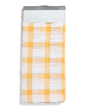 2pk Seersucker Plaid Kitchen Towels