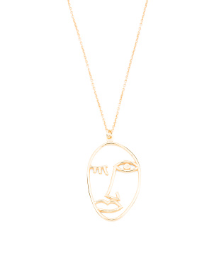 Made In Italy Sterling Silver Abstract Face Necklace