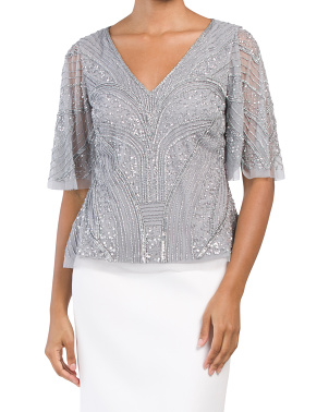 Beaded Flutter Top
