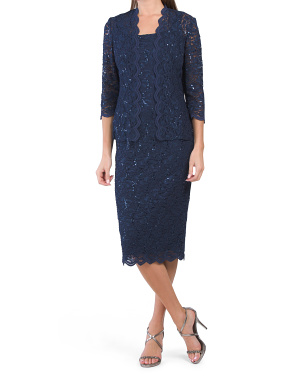 2pc Sequin Lace Jacket Dress