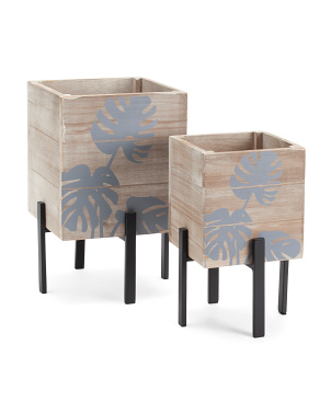 Set Of 2 Wooden Planters On Metal Stands