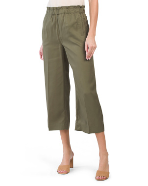 Tencel Ruffle Waist Wide Leg Pants