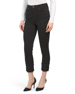 Deep Cuff Slim Straight Jeans