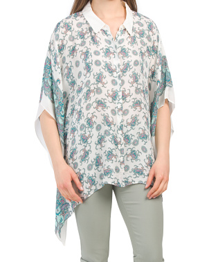 Printed Short Sleeve Oversize Blouse