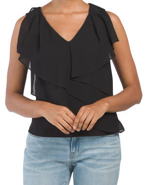 Made In Usa Sleeveless Ruffle Layla Top