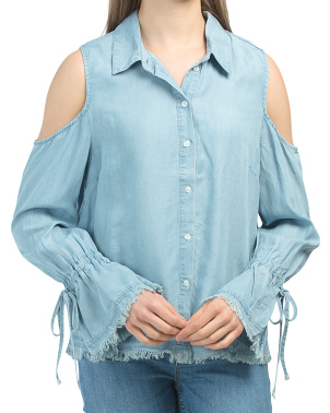 Aerona Cold Shoulder Button Down Top