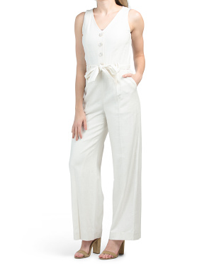 Button Front V-neck Wide Leg Jumpsuit