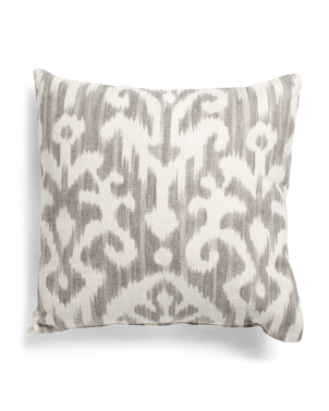 Made In Usa Linen Blend 22x22 Ikat Pillow