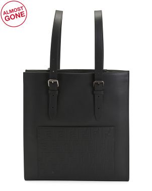 Made In Italy Leather Tote With Ff Embossed Pocket