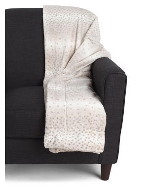 Snow Dot Printed Faux Fur Micro Mink Throw
