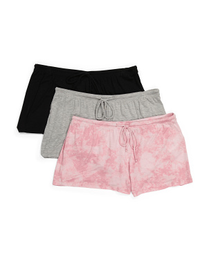 3pk Tie Dye And Solid Pj Shorts