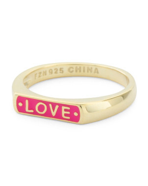 14k Gold Plated Sterling Silver Enamel Love Ring