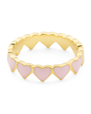 14k Gold Plated Sterling Silver Enamel Hearts Eternity Ring