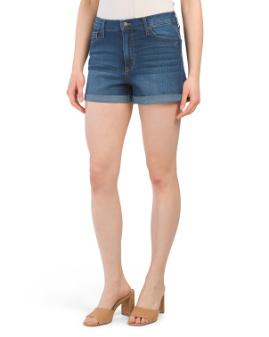 Juniors Rolled Cuff Mom Shorts