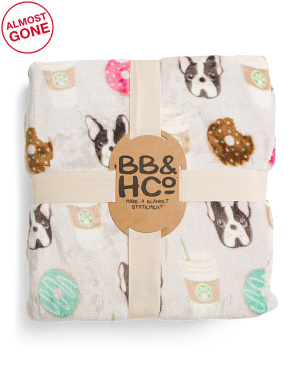 Donuts And Coffee Pup Printed Velvet Loft Blanket