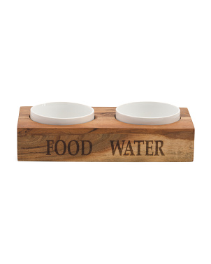 Wooden Feeder With Ceramic Bowls