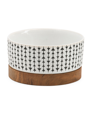 Ceramic Bowl With Wooden Base