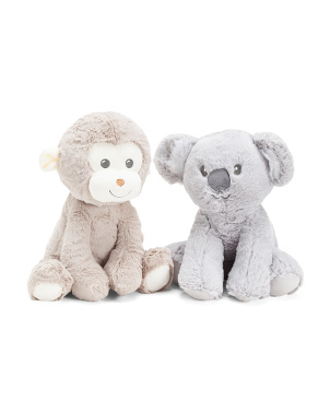 2pc Sitting Monkey & Koala Squeaker Dog Toys