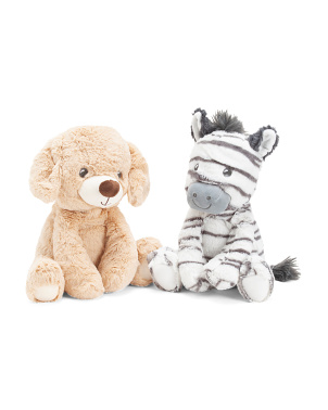2pc Sitting Zebra & Labrador Squeaker Dog Toys