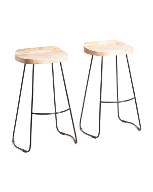 Set Of 2 Chase Natural Wood Bar Stools