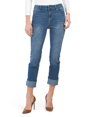 High Waist Recycled Cuffed Girlfriend Jeans