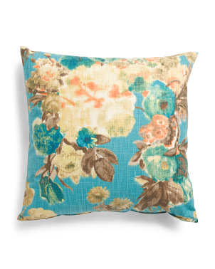 Made In Usa 22x22 Garden Odyssey Linen Look Print Pillow