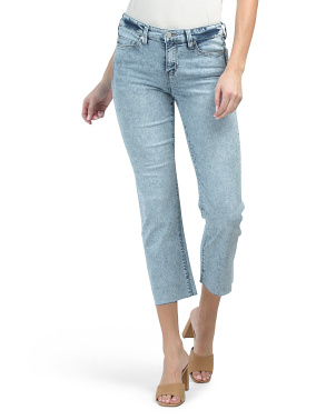 Cropped Straight Acid Wash Frayed Cuff Jeans