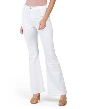 High Rise Flare Jeans Frayed Cuffs