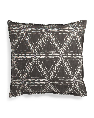Made In Usa 22x22 Tessa Linen Look Printed Geometric Pillow