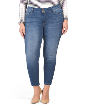 Plus Super High Waist Recycled 2 Button Skinny Jeans