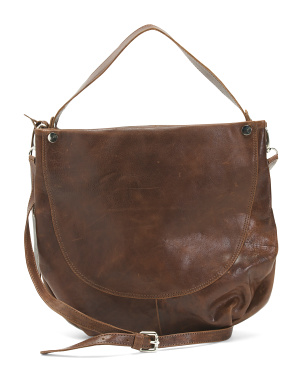 Made In Italy Leather Medium Hobo With Crossbody Strap
