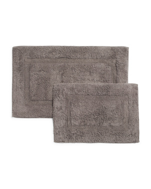 2pk Single Sided Cotton Bath Rugs