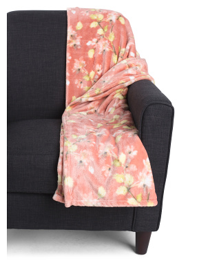 Floral Plush Throw