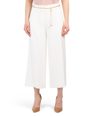 Cropped Wide Leg Pants With Chain Belt