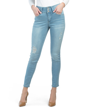 Tummy Control Skinny Jeans With Distressing