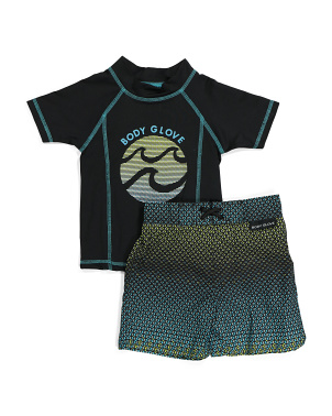 Little Boy Rash Guard And Swim Trunk Set