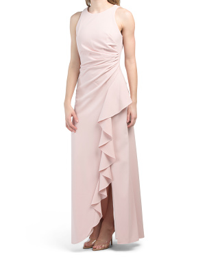 Ruched Waist Solid Stretch Gown With Cascading Ruffle Gown