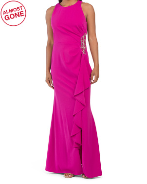 Ruched Waist Solid Stretch Gown With Cascading Ruffle