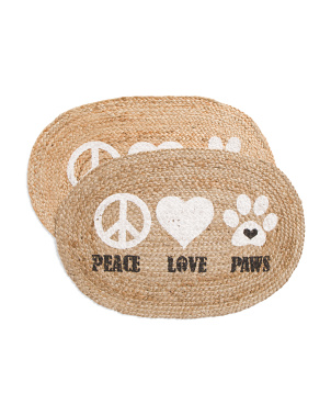 Set Of 2 Jute Oval Pet Placemats