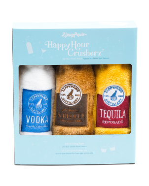 Set Of 3 Happy Hour Crusherz Spirits Dog Toys