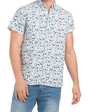 Floral Printed Short Sleeve Woven Shirt