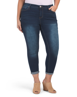 Plus Fit Solution Curvy Roll Cuff Skinny Jeans