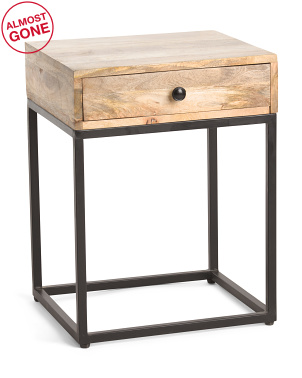 Mango Wood One Drawer Side Table