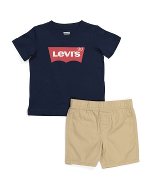 Little Boy Batwing Tee And Woven Short Set