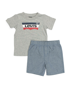 Toddler Boy Batwing Tee And Woven Shorts Set