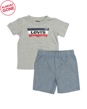 Toddler Boy Tee And Woven Shorts Set